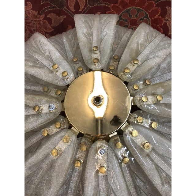 White Mid-Century Murano Glass Flower Petal Chandelier For Sale - Image 8 of 11