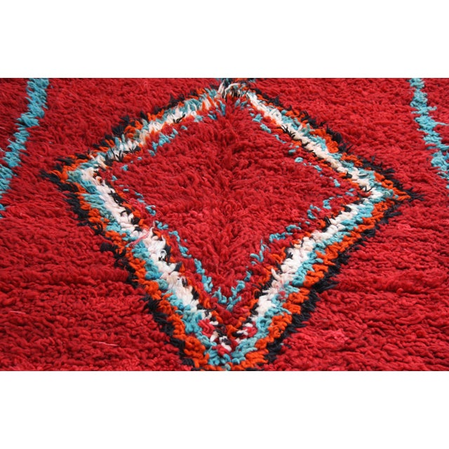Abstract Expressionism Red Moroccan Azilal Rug, 6'6'' X 3'8'' For Sale - Image 3 of 3