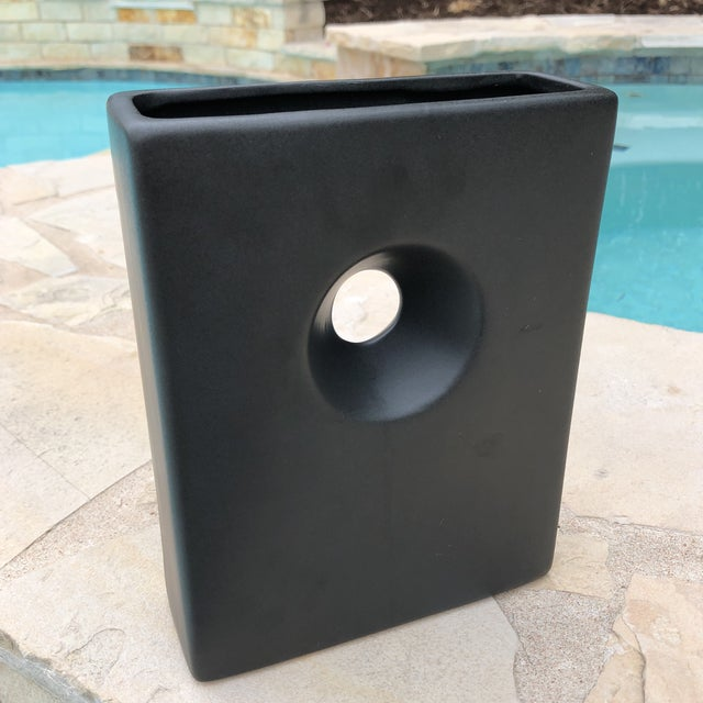 Modernist Matte Black Ilebana Vase For Sale - Image 11 of 11