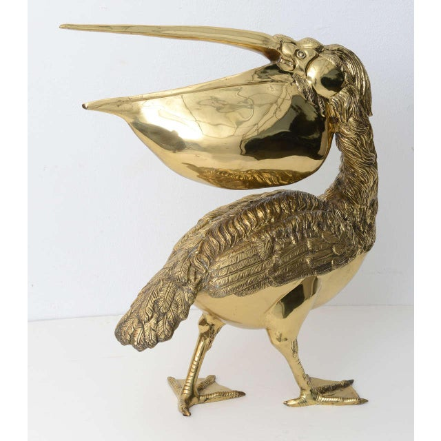 Hollywood Regency Style Cast Brass Sculpture of a Pelican, Italy, 1960s For Sale In West Palm - Image 6 of 11