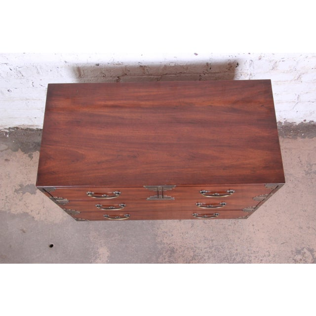 Henredon Chinoiserie Campaign Style Walnut Four-Drawer Dresser Chest For Sale - Image 11 of 13
