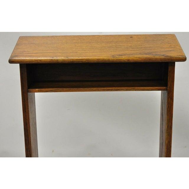 Vintage Arts & Crafts Mission Oak Wood Prayer Kneeler Kneeling Bench Seat For Sale In Philadelphia - Image 6 of 12