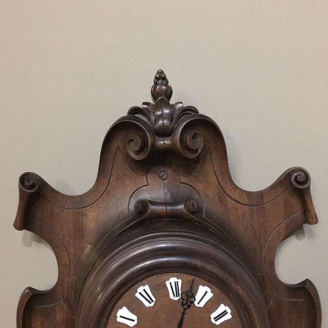 19th Century French Hand Carved Walnut Baroque Barometer and Clock Set, 1860's For Sale - Image 4 of 9