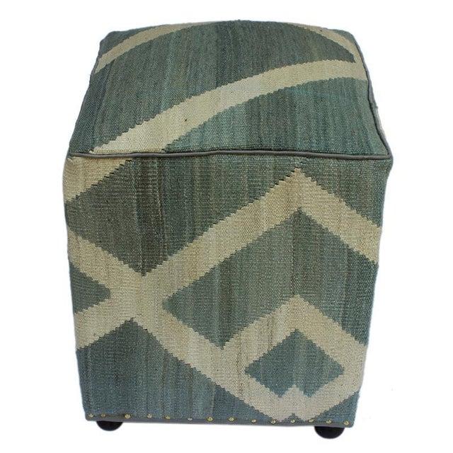 2010s Arshs Daniel Gray/Ivory Kilim Upholstered Handmade Ottoman For Sale - Image 5 of 8