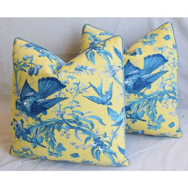 """Designer Blue & Yellow Bird and Butterflies Feather/Down Pillows 21"""" Square - Pair For Sale - Image 9 of 13"""