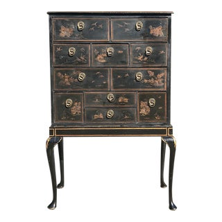 19th Century Ebonized & Hand-Painted Chinoiserie Raised Cabinet For Sale