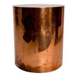 Mid Century Modern Cylinder Drum Side Table in Copper, After Karl Springer For Sale
