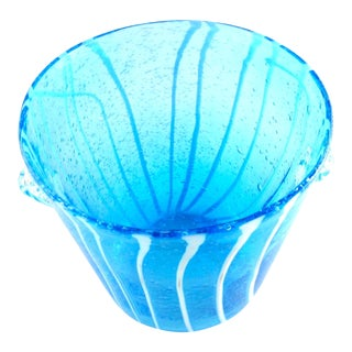 Vintage Venini for DiSARONNO Blue Glass Ice Bucket For Sale