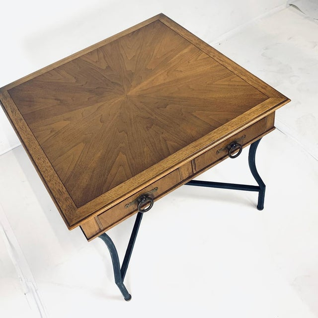 Metal Stunning Pair of Tomlinson Inlaid Walnut Midcentury End Lamp Tables W Ring Pulls For Sale - Image 7 of 12