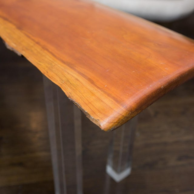 Live Edge & Lucite Legged Bench For Sale - Image 5 of 6