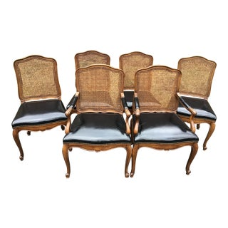 Bodart French Louis XIV Caned Leather Dining Chairs -Set of 6 For Sale