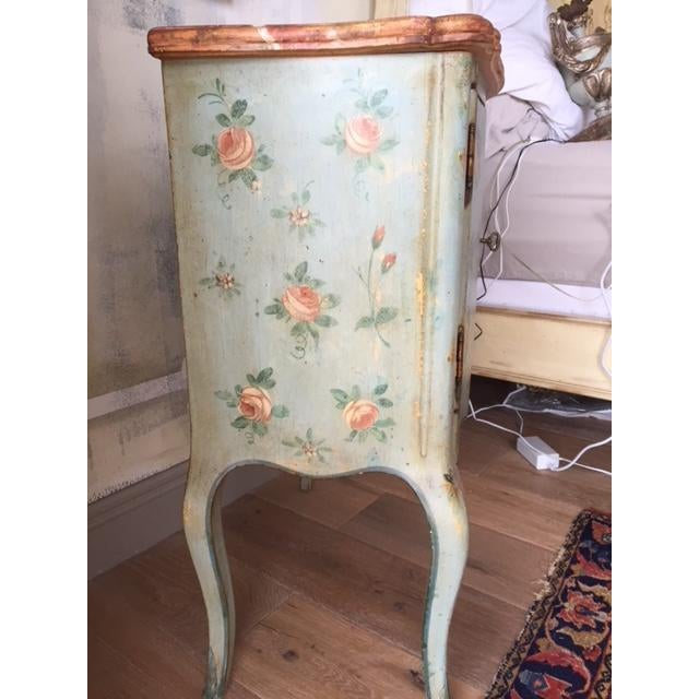 Italian Vintage Comodino Rustic Floral Side Table For Sale - Image 3 of 10