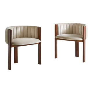Pair of Channeled Mid Century Rosewood Chairs in Ivory Silk Velvet For Sale