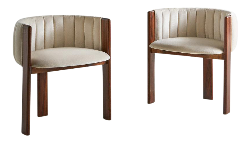 Pair Of Channeled Mid Century Rosewood Chairs In Ivory Silk Velvet