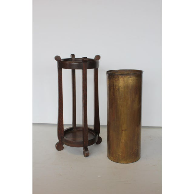 Mission Mission Oak and Brass Umbrella Stand by the Lakeside Craft Shops For Sale - Image 3 of 6