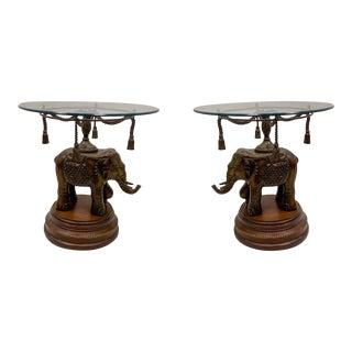 1980s Maitland-Smith Elephant & Tassel Side Tables - a Pair For Sale