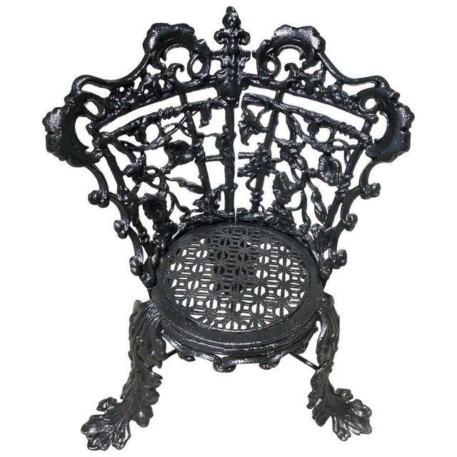 Antique Garden Chair Cast Iron in the Morning Glory Pattern For Sale - Image 12 of 13