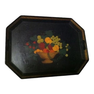 Hand Painted Primitive Style Fruit in Basket Tole Tray For Sale