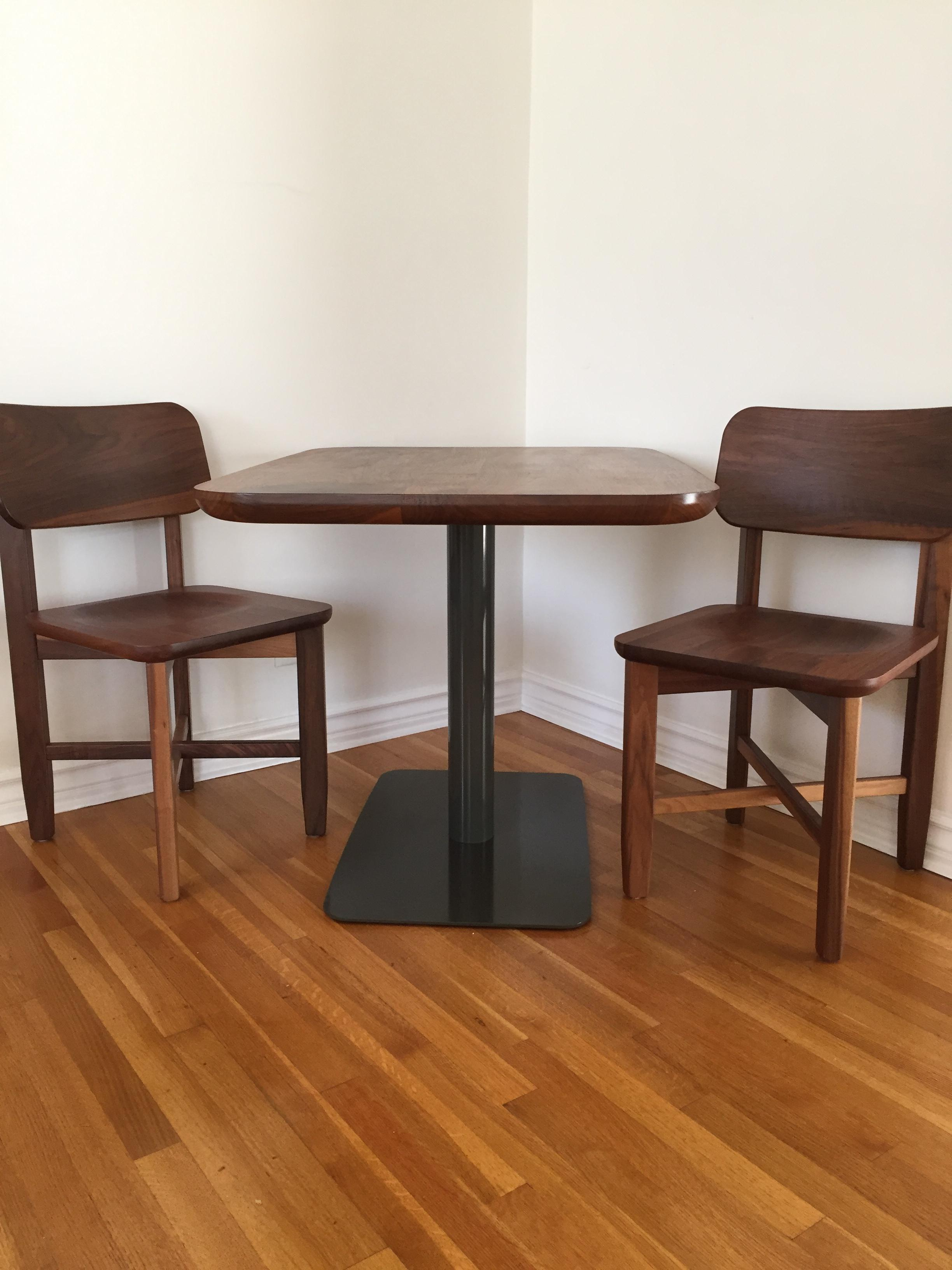 Small Walnut Cafe Table U0026 Two Chairs   Handcrafted   Image 2 ...