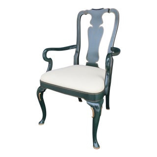 Kindel Queen Anne Style Armchair -Bottle Green Lacquered Finish