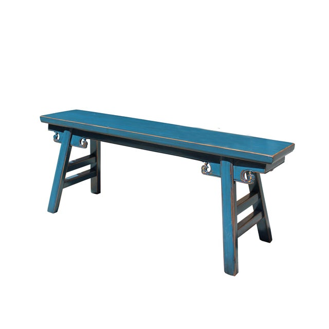 Chinese Oriental Distressed Teal Blue Long Wood Bench Stool For Sale In San Francisco - Image 6 of 7