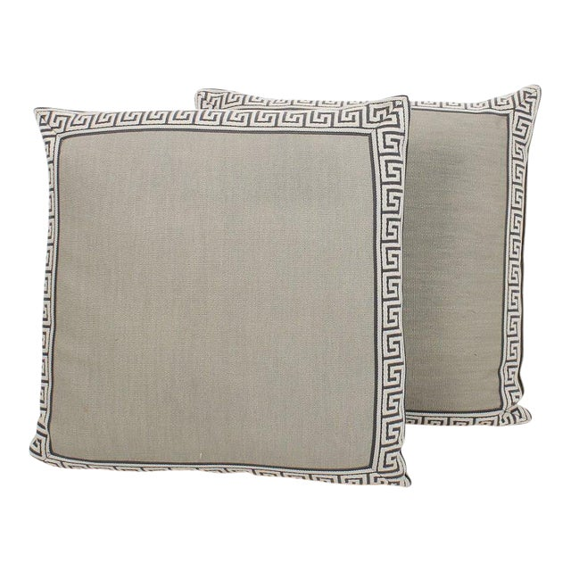 Charcoal and Slate Linen Greek Key Pillows, Pair For Sale