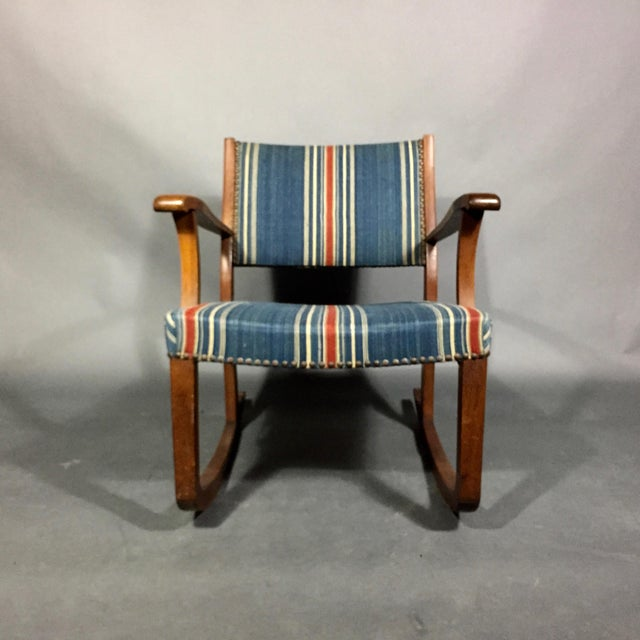 1940s Danish Rocking Chair, Oak and Wool Stripe For Sale - Image 4 of 12