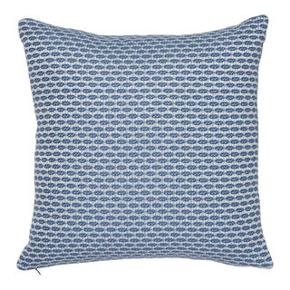 "Contemporary Schumacher Hickox Blue Indoor/Outdoor Two-Sided Pillow - 18ʺW × 18""H For Sale"