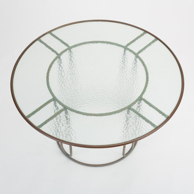 1960s Round Patio Table With Oxidized Bronze Frame by Walter Lamb for Brown Jordan For Sale - Image 5 of 13