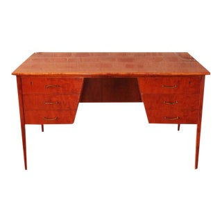 Mid-Century Brass & Wood Writing Desk For Sale