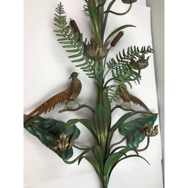 Vintage Italian Tole Wall Candle Sconce Pheasants Ferns Cattails For Sale - Image 11 of 11