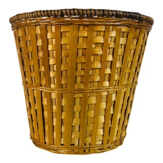 Small Round Tan Wicker Basket For Sale
