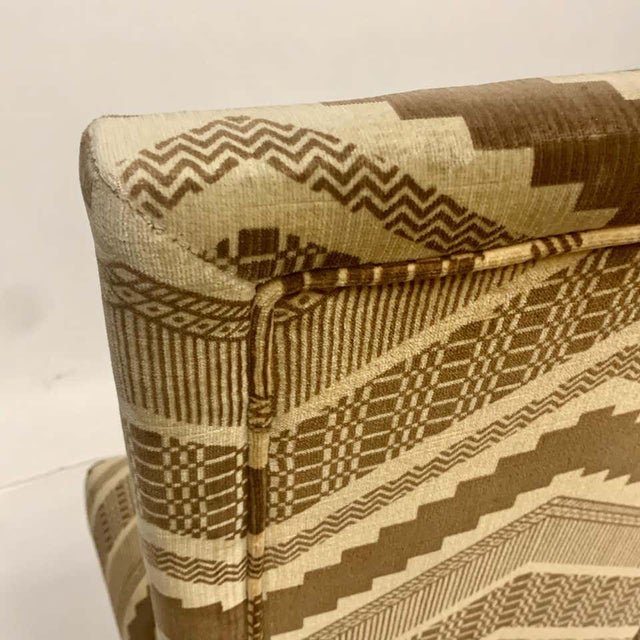 Textile Set of Six 1970s Glam Zig Zag Parsons or Tuxedo Velvet Upholstered Dining Chairs For Sale - Image 7 of 11