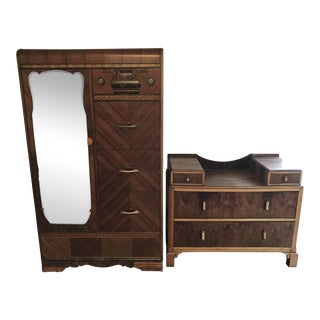 Art Deco Waterfall Armoire and Dresser - 2 Pc Set