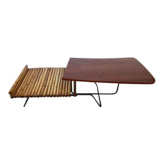 1950s Mid-Century Modern Rattan Coffee Table For Sale