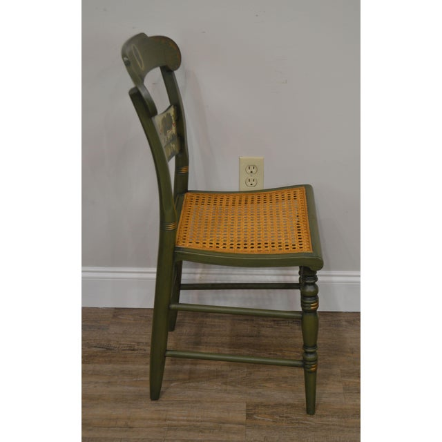 Hitchcock Hitchcock Green Painted George Washington Mt Vernon Cane Seat Side Chair For Sale - Image 4 of 13