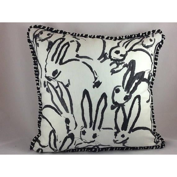 "Hunt Slonem ""Bunny Hutch"" in Black & White Pillows - a Pair - Image 4 of 5"