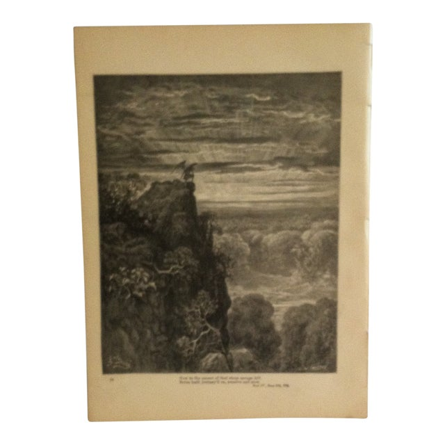 "Antique Paradise Lost Print, Now to the Ascent of the Steep Savage Hill"", Circa 1890 For Sale"