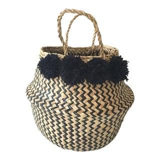 Small Pom Pom Sea Grass Belly Basket