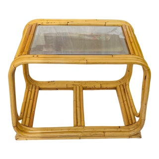 Vintage Triple Layer Bamboo Rattan Bentwood Side Table With Smoked Glass Insert in the Manner of Paul Frankl For Sale