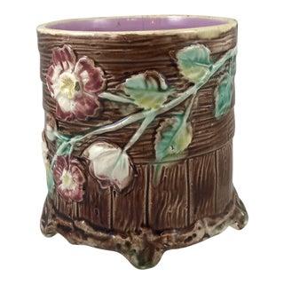 20th Century French Brown Ceramic Majolica Pot