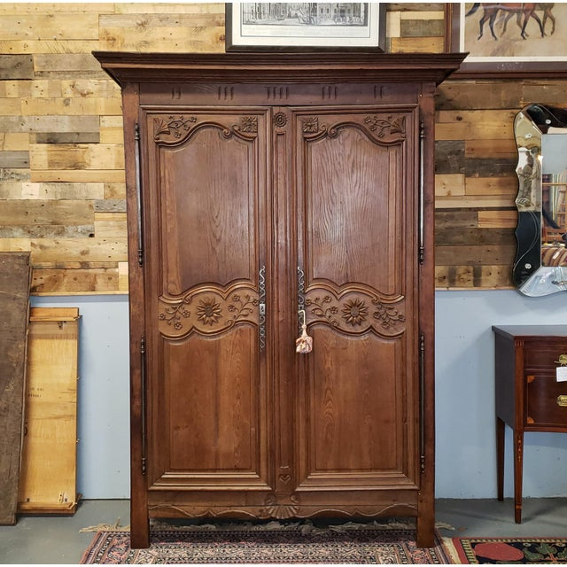 Antique 18th Century French Normandy Country Double Door Wedding Armoire Cabinet C1790 For Sale - Image 12 of 13