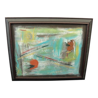 Abstract Oil on Board Painting, Signed