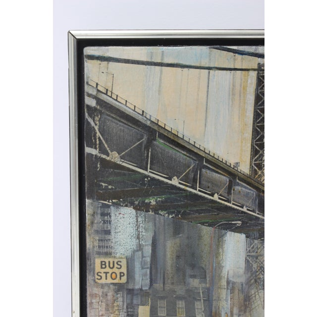 This Mid-Century Modern piece dates to the 1950s-1960s and depicts the Brooklyn Bridge and is a mixed media of oil on...