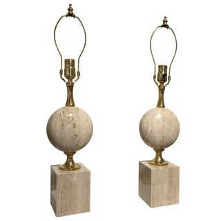 Pair of Beige Travertine Philippe Barbier Table Lamps, France 1970s For Sale