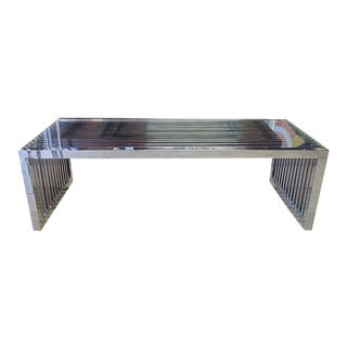 Mod Glass and Chrome Coffee Table For Sale