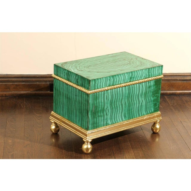 Hollywood Regency Faux Malachite Box For Sale In Atlanta - Image 6 of 6