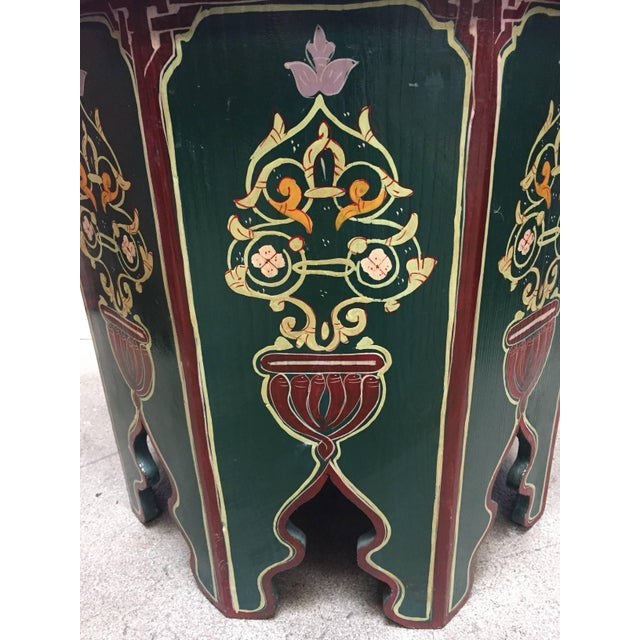 Moroccan Hand Painted Table With Moorish Designs For Sale - Image 9 of 12