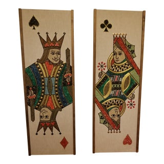 1960s Vintage King & Queen Handmade Mosaic Wall Art Panels - a Pair For Sale