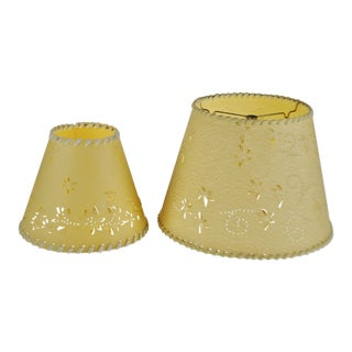 Vintage Perforated Paper Lamp Shades - Set of 2 For Sale